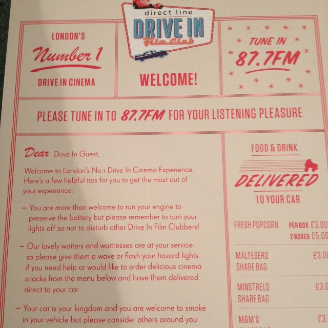Drive in Cinema Brent Cross Shopping Centre