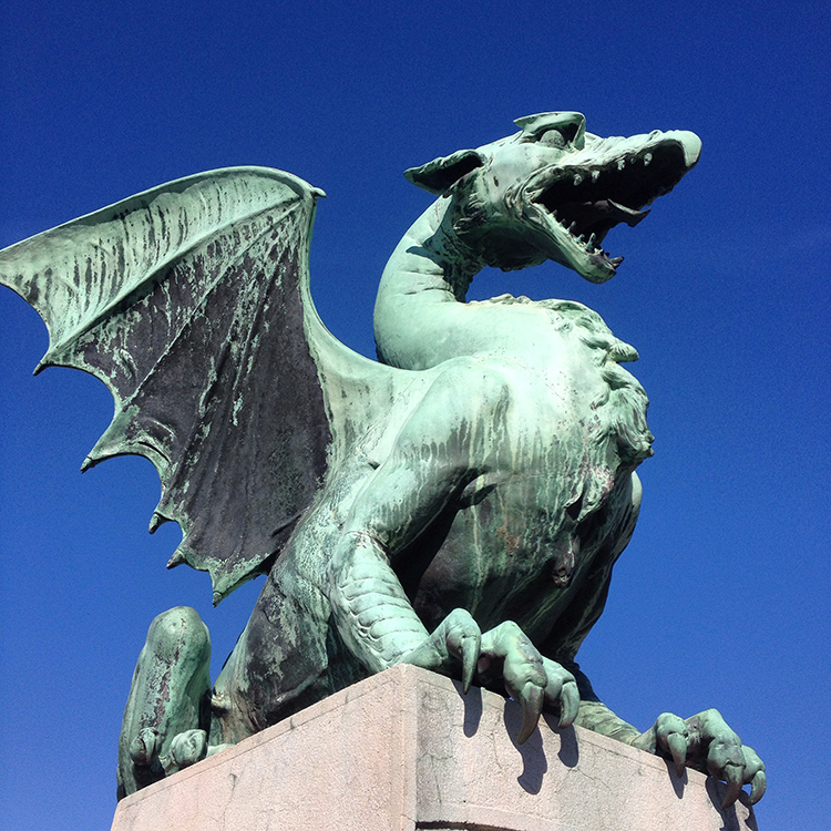A dragon from the dragon bridge in Ljubljana