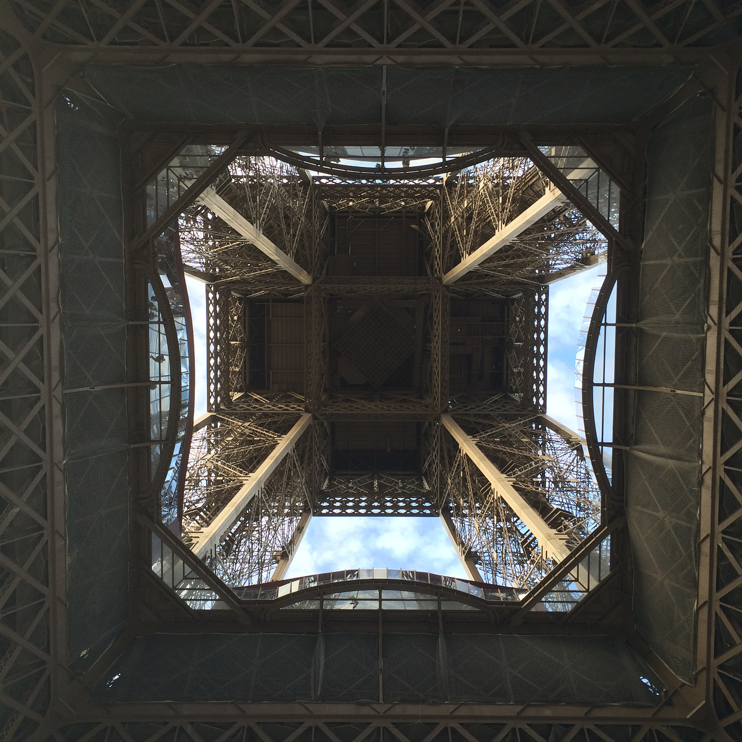 underneath the Eiffel Tower looking up