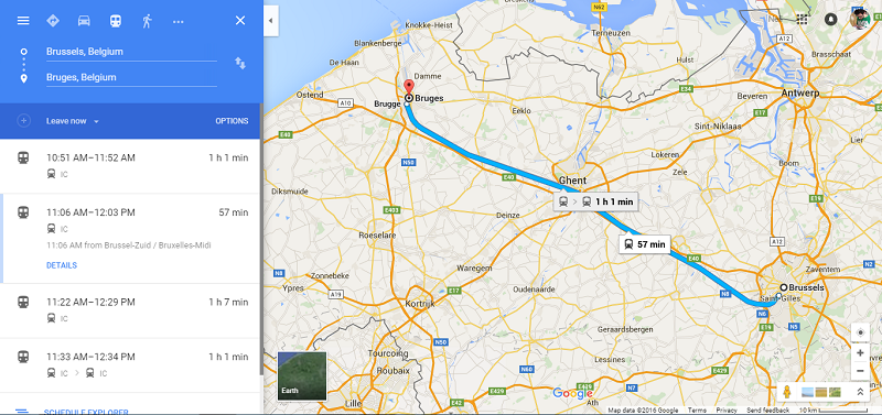 Brussels to Bruges by train
