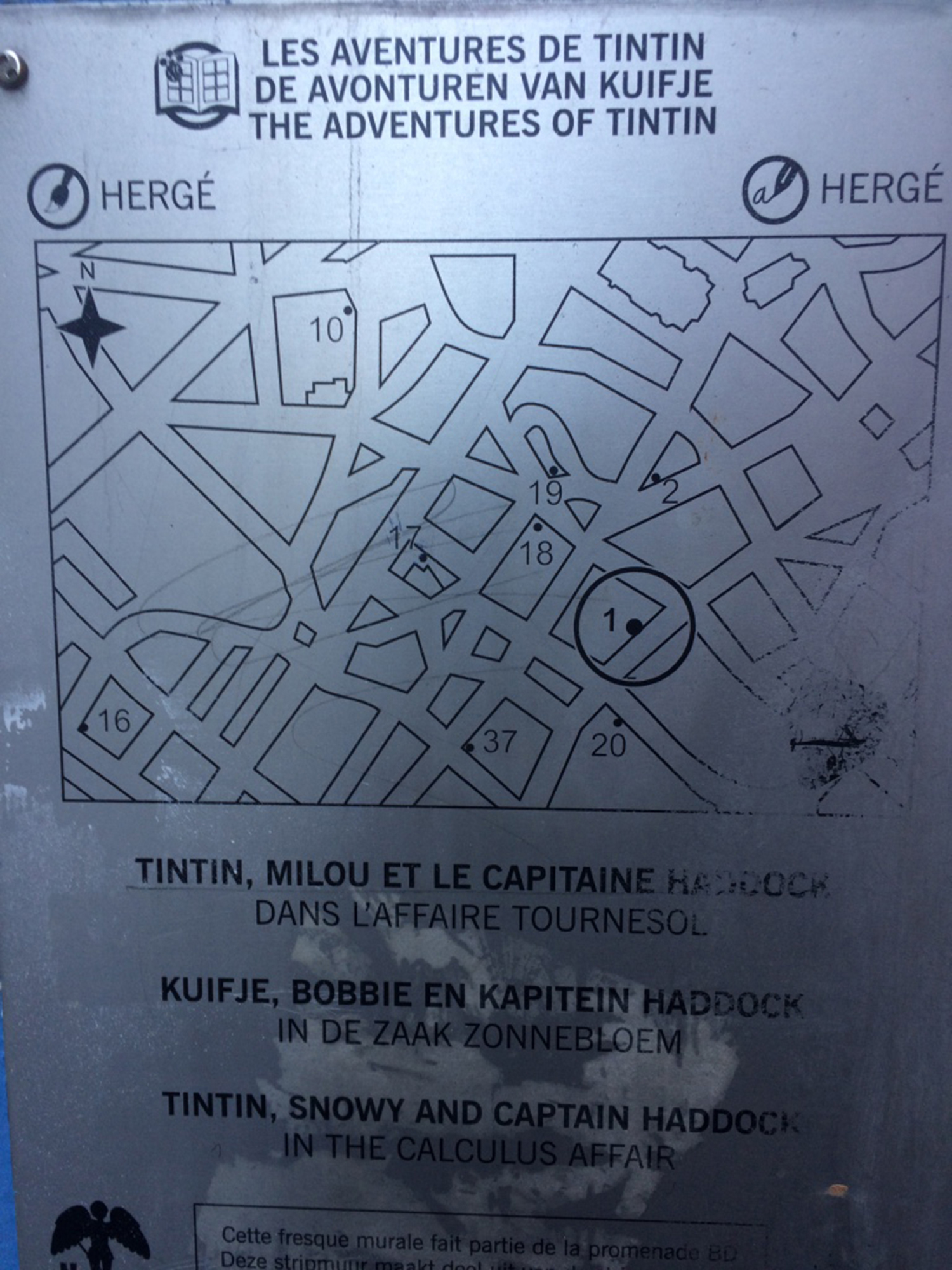 Brussels comic mural locations map